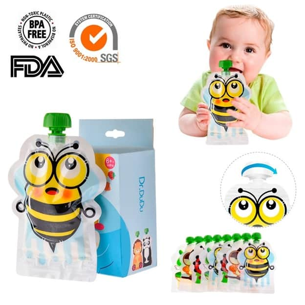 8pcs Baby Food Pouches Reusable Bags