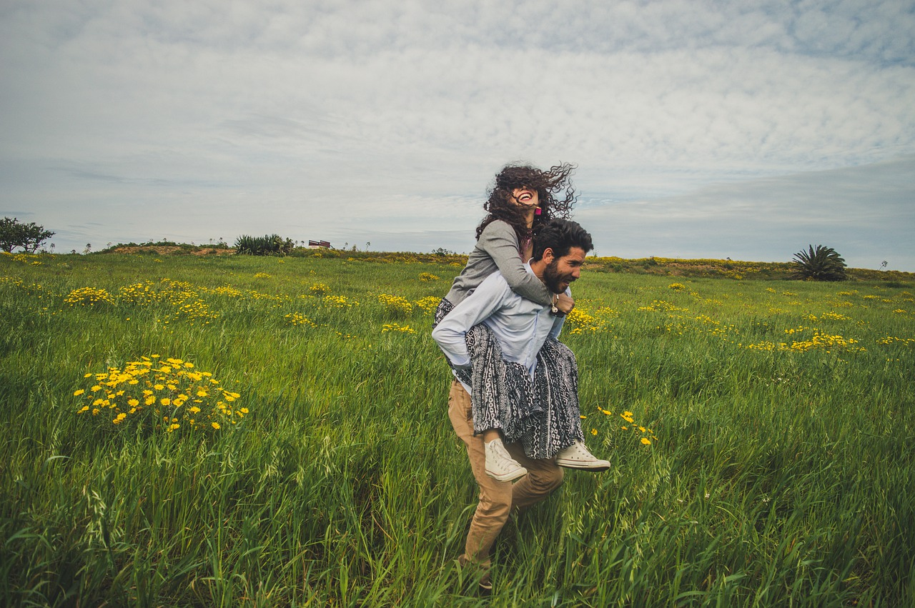 A person in a green field